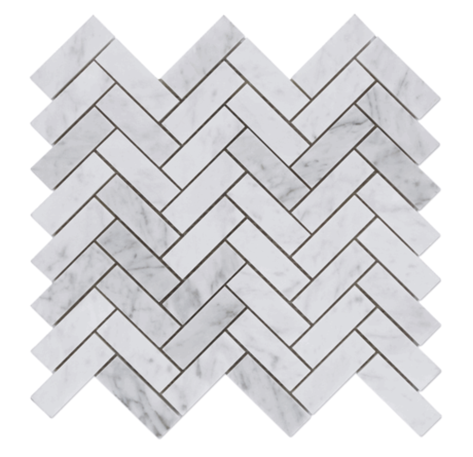 Carrara White Mosaics Bianco Carrera Marble 1x3 Herringbone Mosaic Tile Polished