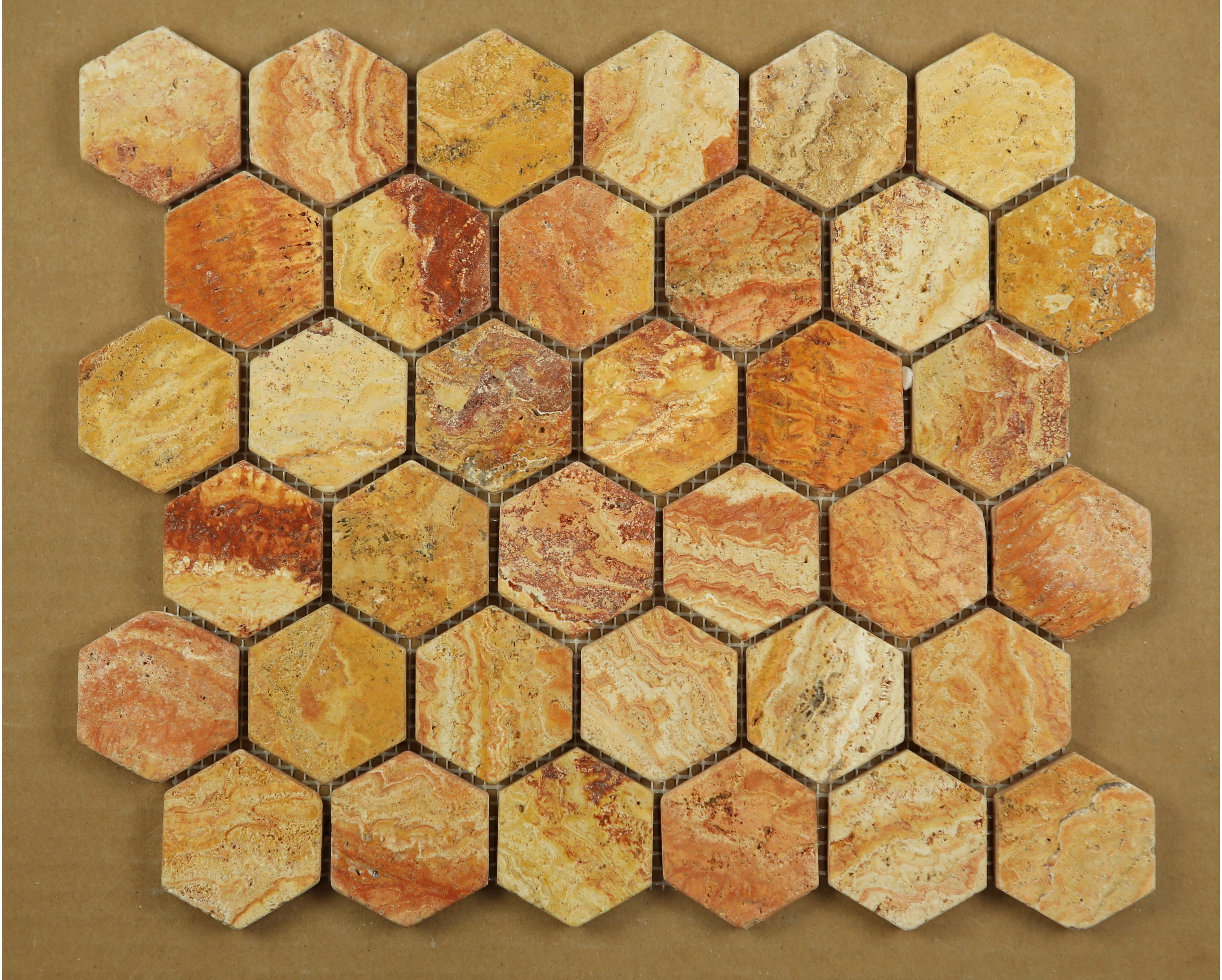 Scabos Travertine Tumbled 2 Inch 2x2 Hexagon Mosaic Tile